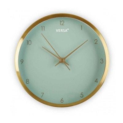 Horloge Murale Ronde Dorée Fond Vert Menthe Horloge Murale Ronde Dorée Fond Vert Menthe VERSA