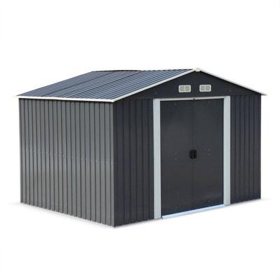 Abri de jardin en métal - WEPPES 7 m² anthracite - Cabane à outils avec deux grandes portes coulissantes, kit de fixation sol ALICE S GARDEN