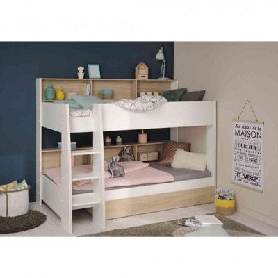 lit superpos tiroir en bois chne blond et blanc lt1032 2 terre de nuit - Lit Mezzanine Blanc 1 Personne