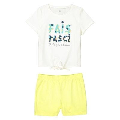 Pyjashort imprimé, T-shirt à nouer, 3 - 12 ans Pyjashort imprimé, T-shirt à nouer, 3 - 12 ans La Redoute Collections