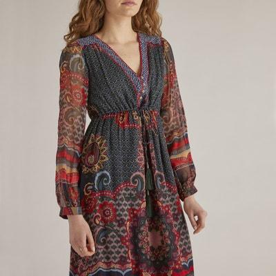 Vestido largo, estampado floral, comprimento médio, 3/4 Vestido largo, estampado floral, comprimento médio, 3/4 RENE DERHY