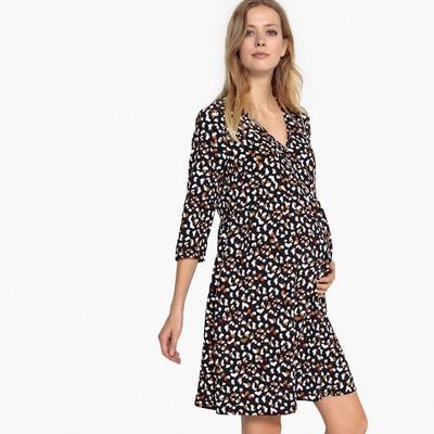 Bedrukte zwangerschapsjurk in wikkelshirt model Bedrukte zwangerschapsjurk in wikkelshirt model LA REDOUTE MATERNITE