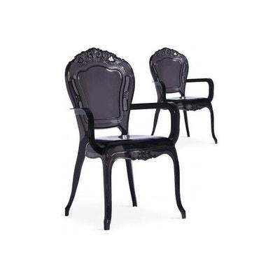 Lot De 2 Chaises Avec Accoudoirs Noires PAULINE