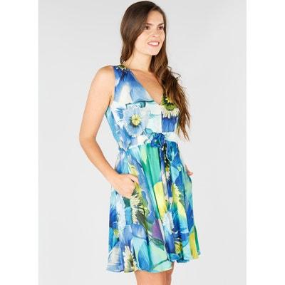 Rozkloszowana sukienka bez rękawów z gumką w talii RENE DERHY