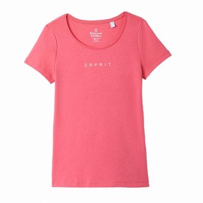 T-Shirt, runder Ausschnitt, reine Baumwolle ESPRIT