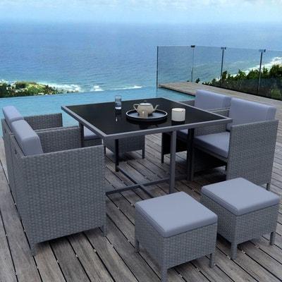 ensemble encastrable 8 places salon table de jardin rsine tresse gris munga 8 - Ensemble Salon De Jardin