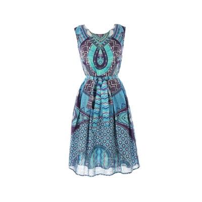 Printed Skater V-Neck Dress with Tie Waist Printed Skater V-Neck Dress with Tie Waist RENE DERHY