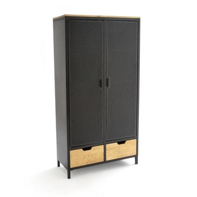 Armoire 2 portes métal et chêne AGAMA Armoire 2 portes métal et chêne AGAMA La Redoute Interieurs