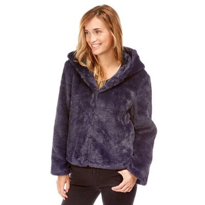Manteau court à capuche en fausse fourrure Manteau court à capuche en fausse  fourrure BEST MOUNTAIN 675bd3d1553d