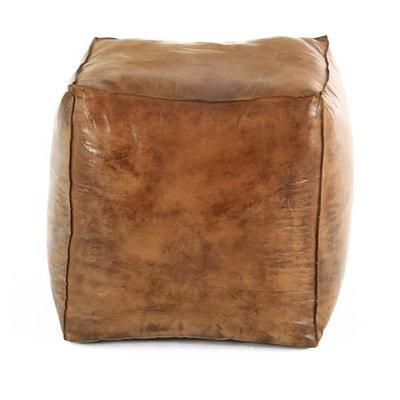 Pouf carré en cuir Montecristo ZAGO