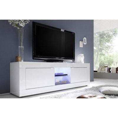 meuble tv design laqu blanc 180cm latte miliboo