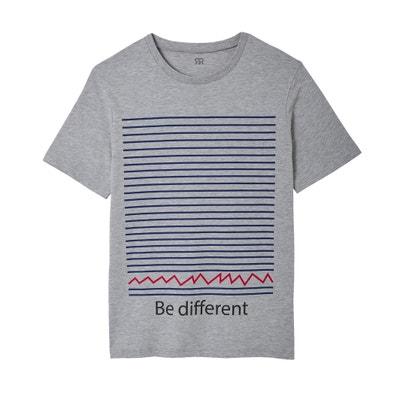 T-shirt de gola redonda, estampada, Slub T-shirt de gola redonda, estampada, Slub La Redoute Collections