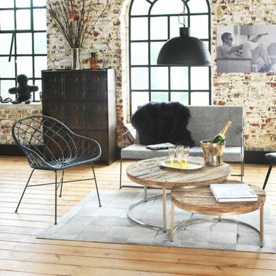 Table basse gigogne ronde bois recyclé style brut - pieds métal gris  |  M MADE IN MEUBLES