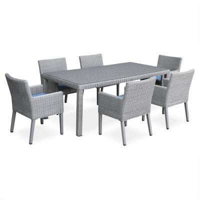 salon de jardin avec sa table en rsine ronde fine 6 places 1 table et - Table Jardin Chaise