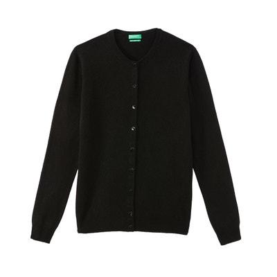 Feinstrick-Cardigan mit rundem Ausschnitt, Wolle Feinstrick-Cardigan mit rundem Ausschnitt, Wolle BENETTON