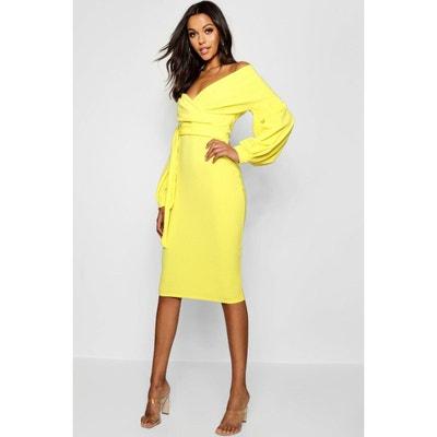 Robe longue jaune fluo