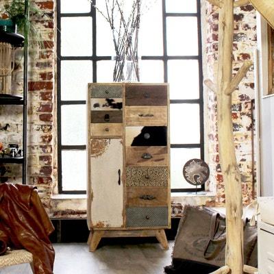 chiffonnier bois massif patchwork faades bois peaux et mtal m chiffonnier bois massif made in meubles - Meuble Bois Design