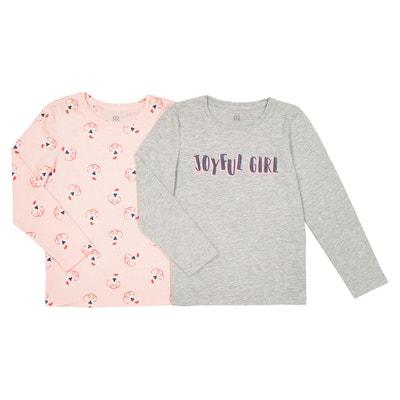 Confezione da 2 t-shirt a maniche lunghe da 3 a 12 anni La Redoute Collections