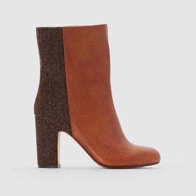 Boots cuir bi-matière - La Redoute Collections - RougeLa Redoute Collections j5MPgolxj