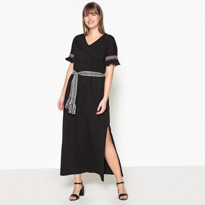 Lange effen jurk met korte mouwen CASTALUNA