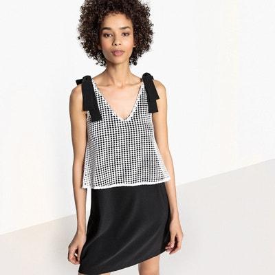 2 in 1 jurk, lijf in kant, gestrikte schouderbandjes MADEMOISELLE R