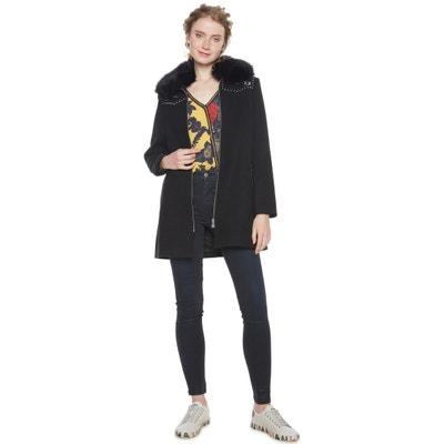 Abrigo semi largo con cuello de pelo sintético Abrigo semi largo con cuello de pelo sintético DESIGUAL