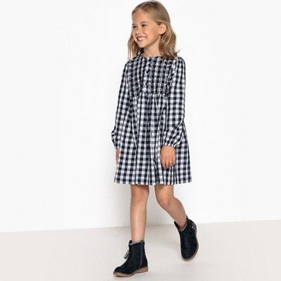 Vestido aos quadrados bordado, 3-12 anos Vestido aos quadrados bordado, 3-12 anos La Redoute Collections