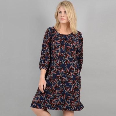 Halblanges Kleid mit grafischem Printmuster, 3/4-Ärmel Halblanges Kleid mit grafischem Printmuster, 3/4-Ärmel GABRIELLE