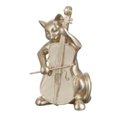 Statuette déco Chat à la Contrebasse Or 18 cm JOLIPA