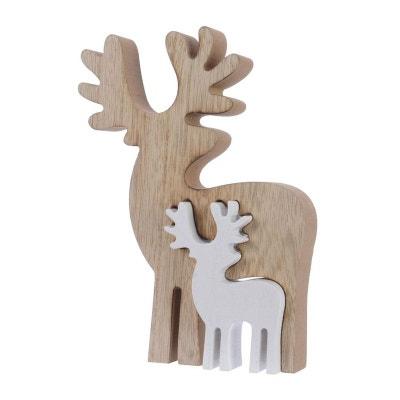 Décoration de noël Rennes en bois encastrés naturel et blanc 18cm Décoration de noël Rennes en bois encastrés naturel et blanc 18cm PIER IMPORT