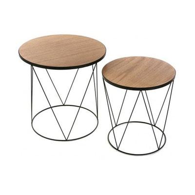 Table basse scandinave bois metal ronde Table basse scandinave bois metal ronde VERSA