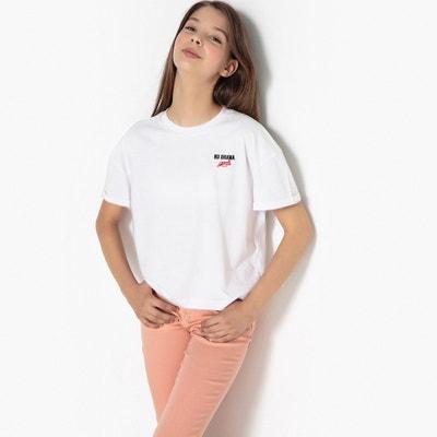 Kurzes T-Shirt mit Stickerei an der Brust, 10-16 Jahre Kurzes T-Shirt mit Stickerei an der Brust, 10-16 Jahre La Redoute Collections