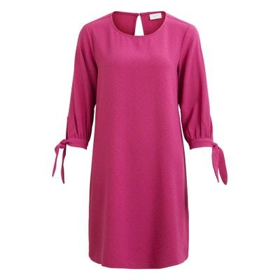 Plain Short-Sleeved Knee-Length Shift Dress VILA