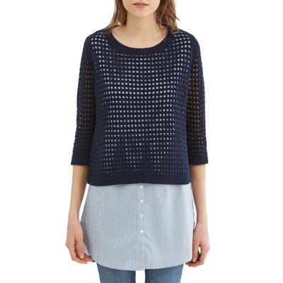 Pullover mit Ajour-Muster, 2 in 1, gestreifte Bluse ohne Ärmel ESPRIT