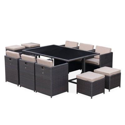 cb17f4a1455d6e Salon de jardin Vasto Chocolat table en résine tressée 6 à 10 places,  fauteuils encastrables