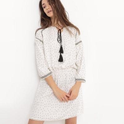 Knielanges Kleid, 3/4-Ärmel, Stickereien Knielanges Kleid, 3/4-Ärmel, Stickereien La Redoute Collections