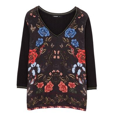 Tee shirt col V manches 3/4 imprimé floral Tee shirt col V manches 3/4 imprimé floral DESIGUAL