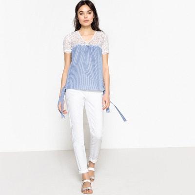 Blusa con encaje en la parte superior y lacitos laterales, 100% algodón Blusa con encaje en la parte superior y lacitos laterales, 100% algodón VERO MODA