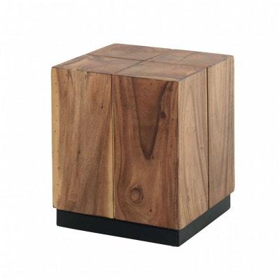 sellette bout de canap inspiration exotique en bois de suar et pieds noir 40x40xh45cm canada - Bout De Canape Bois