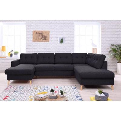 Canapé Scandi U Panoramique Convertible + Coffre Angle Droit noir chine BOBOCHIC