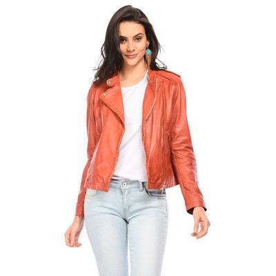 Veste cuir orange en solde   La Redoute 827332af4147