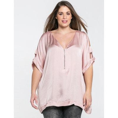 Kurzärmelige Bluse mit V-Ausschnitt, unifarben Kurzärmelige Bluse mit V-Ausschnitt, unifarben MAT FASHION