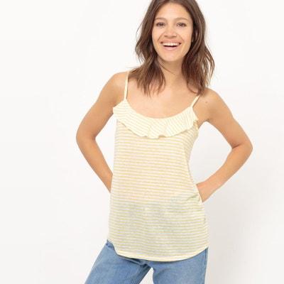Tee shirt col v imprimé rayures, fines bretelles La Redoute Collections