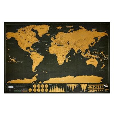 Carte du monde à gratter noire/dorée NATURE ET DECOUVERTES