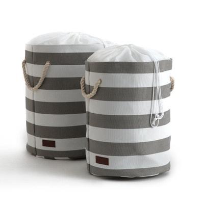 TALKI Set of 2 Striped Cotton Laundry Bags TALKI Set of 2 Striped Cotton Laundry Bags La Redoute Interieurs