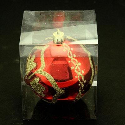 Boule de noël décorée - Fleur et diamant - Rouge, or et vert ATMOSPHERA