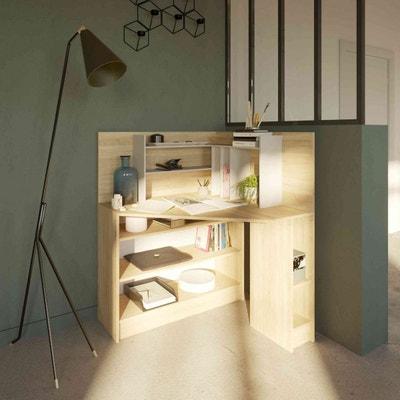 Bureau d'angle en bois coloris naturel avec niche de rangement - BU6011 TERRE DE NUIT