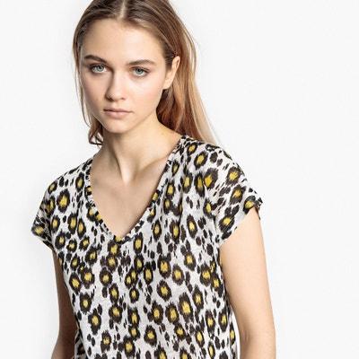 T-shirt com decote em V, mangas curtas, estampado leopardo La Redoute Collections