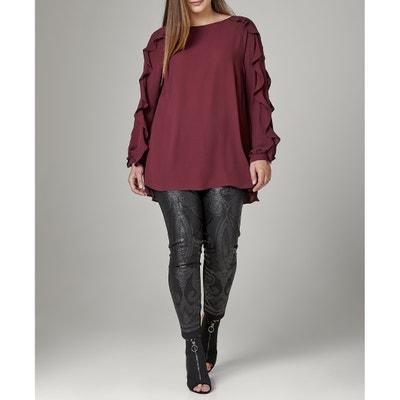 Blusa con cuello redondo y manga larga Blusa con cuello redondo y manga larga MAT FASHION