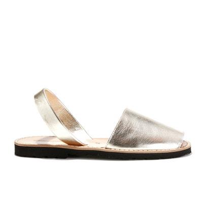Босоножки кожаные на плоском каблуке AVARCA METAL Босоножки кожаные на плоском каблуке AVARCA METAL MINORQUINES